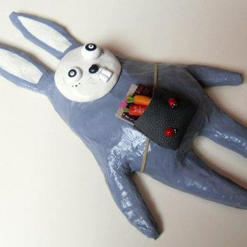 Paper Mache Rabbit Sculpture   Paper Mache Wall Decor   Eid The Entomologist   Gray Rabbit Sculpture   Mixed Media Art Doll   Ooak