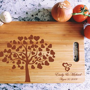 ikb501 Personalized Cutting Board Wood wooden wedding gift anniversary date heart tree