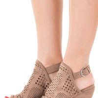 Taupe Faux Suede Wedge with Cut Out Detail