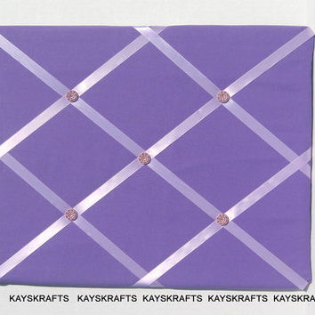 Purple and Lilac Memory Board French Memo Board  on Etsy Fabric Board, Ribbon Board, Photo Board, Bulletin Board, Message Board, Girl, Baby