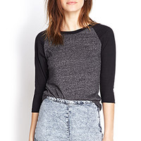 FOREVER 21 Burnout Baseball Tee Charcoal/Black Medium