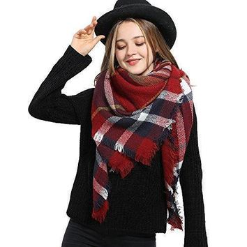 Blanket Scarf for Women Square Plaid Scarf Womens Winter Tartan Scarf Wrap Shawl