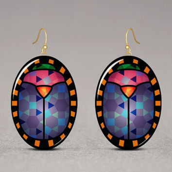 Scarab Beetle Dangle Earrings - Gold Tone Silver Tone, Egyptian Jewelry, Resin And Graphics