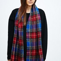 Plaid Scarf in Blue - Urban Outfitters