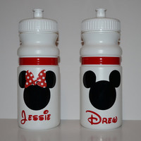 Personalized 20 oz. white Mickey or Minnie Mouse water bottle