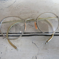 Antique Wire Rim Glasses Old Metal Glasses Pioneer 24 Glass Frames Round Eye Glasses Ladies Glasses Antique Eyewear Vintage Eyewear