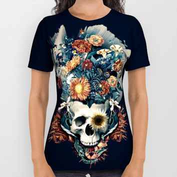 Skull and Flowers All Over Print Shirt by RIZA PEKER
