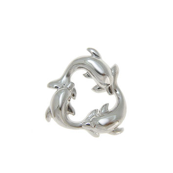SOLID 925 STERLING SILVER HAWAIIAN SWIMMING DOLPHIN CIRCLE CHARM PENDANT 15MM