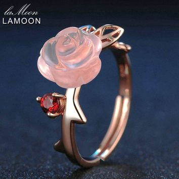 LAMOON Pink Flower Rings Natural Gemstone Rose Quartz Ring 925 Sterling Silver Fine Jewelry For Women Adjustable RI025