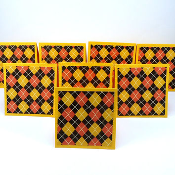Mini Note Cards, Fall Argyle Plaid, Halloween, mini blank cards, orange golden yellow black, thank you, gift cards, set of 8 with envelopes