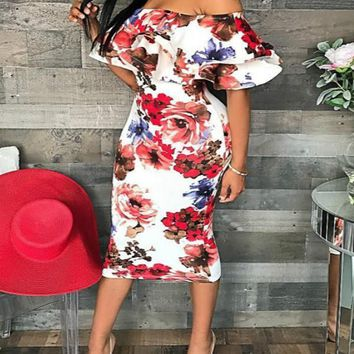 New White Floral Print Off Shoulder Cascading Ruffle Bodycon Party Midi Dress