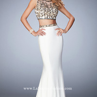 Open Back Long Ivory Two Piece Prom Dress by Gigi