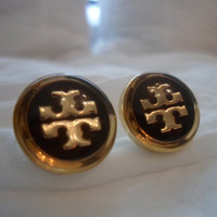 TORY BURCH upcycled goldtone and BLACK logo by Designersdreamshop