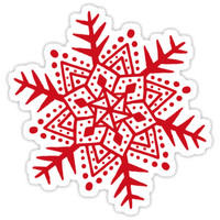'Red folk art snowflake stickers' Sticker by Mhea