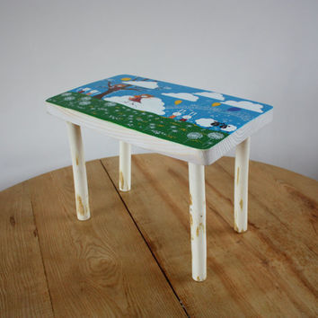 Painted furniture - Kids furniture - Wooden bench - Wooden stool - Step stool - Personalized gift for kids - Small bench - Baby shower gift