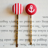 Fabric Button Bobby Pin Duo, Nautical Button Bobby Pin, Summer Party Favors, Anchor, Birthday Gifts , Fourth of July, Patriotic