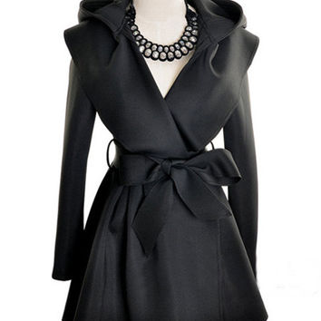 Long Sleeve Hooded Bow Belted Trench Coat