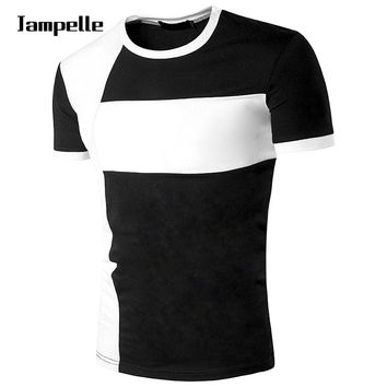 Jampelle Men's Comfortable T-Shirts Round Neck Cross Stitching Short Sleeve T-Shirt Stitching Color Shirt Tops t shirts