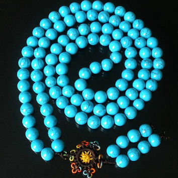 Tibet Blue Vein Stone 10mm 108 Beads Beaded Buddhism Buddha Prayer Mala Necklace
