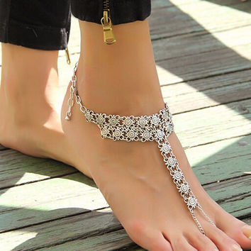 Bohemian Style Coin Joint Tassel Toe Chain Link Anklets Bracelet Foot Jewelry Body Jewelry For Women Free Shipping