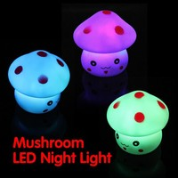 Mushroom Shaped LED Novelty Lamp Night Light Colorful Changing Colors Kids Baby Bedroom Decoration Gift