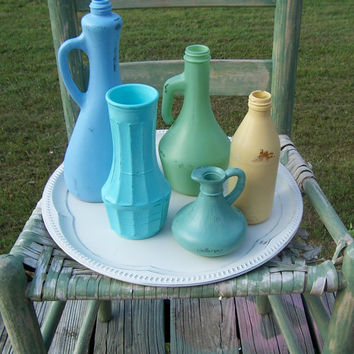 Vintage Painted Glass Bottle Collection and Tray, Cottage Chic, Blue Green Yellow