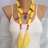 Yellow Jewelry Scarf - Bohemian Necklace Scarf  - Yellow Beaded Scarf - Summer Scarf - Beach Accessories - Beach Weddings
