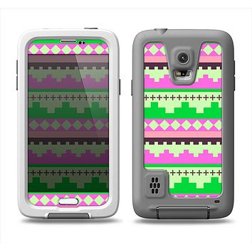 The Lime Green & Pink Tribal Ethic Geometric Pattern Samsung Galaxy S5 LifeProof Fre Case Skin Set