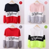 Good Quality Korea Women's Letters Printed Different Mix Casual Loose Sweatshirts Sweater Pullover Tops = 1830111364