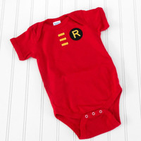 READY TO SHIP Onesuit Robin Boy Wonder by LindaSumnerDesigns