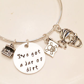 I've Got a Jar of Dirt - Captain Jack Sparrow Pirates of the Caribbean Inspired Johnny Depp Adjustable Bangle Charm Bracelet