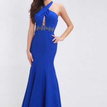 Royal Blue Prom Dresses Sleeveless Beading Sexy Halter Backless Mermaid Evening Dresses Party Gowns for Women