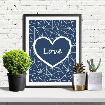 Heart Print, Geometric Print, Modern Minimalist, Navy Poster, Heart Art, Love Print, Navy, Home Decor, Wall Prints, Printable Wall Art