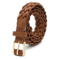 "Women's Fashion 1"" Faux Leather Braided Belt"