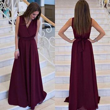 CUPUPI8 Summer Women dress Sexy Long Party Dresses 2016 Sleeveless Elegant Casual Pleated Chiffon Maxi Dress Vestido robe New Plus Size