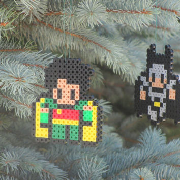 Batman and Robin Inspired Bead Sprite Magnets, Ornaments, or Wall Decor