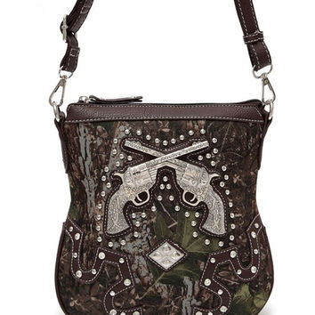 * Camouflage Print Gun And Studs Accented Cross Body Messenger Bag In Brown