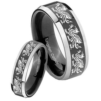 His Hers Shiny Black Bevel Multiple Dragon 2 Tone Tungsten Wedding Rings Set