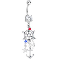 Handcrafted Clear CZ Nautical Dreamcatcher Dangle Belly Ring | Body Candy Body Jewelry