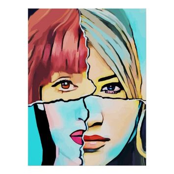 The Inner Struggle Split Personality Abstract Poster