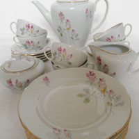 Vintage White and Pink Porcelain Tea Set OPK Germany Deutsche Demokratische Republik 23 Piece Set Teapots Teacups Plates Rosebud Gold 1958