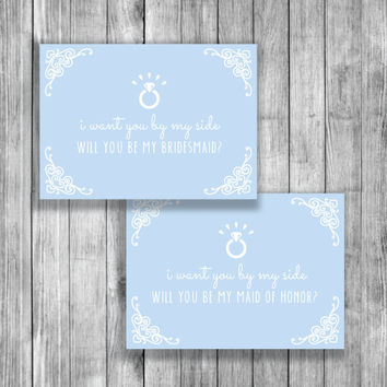 Bridesmaid Card 'Will You Be My Bridesmaid'- Bridesmaid Gift - FREE Maid of Honor Cards - Instant Download - BR013