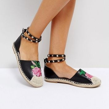 Truffle Collection Embriodered Stud Ankle Espadrille at asos.com