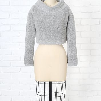 Gray Cropped Cowl Neck Sweater