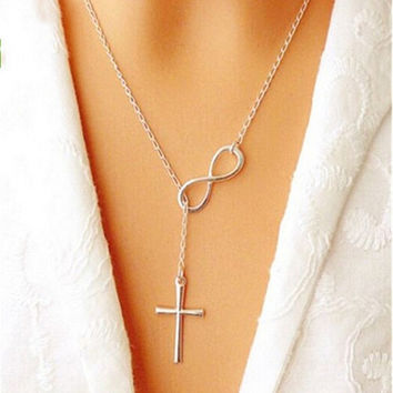 Fashion Cross Infinity Necklace [7279463815]