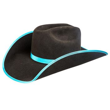 Rodeo King 7X Chocolate Open Crown Turquoise Bound Edge Felt Cowboy Hat