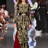 Black And Gold Brocade Maxi Dress