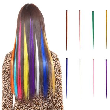 5pcs Women Hair Extensions DIY Cosplay Wig Gradient Color Hair One Piece Long Wig Women's Clips for Hair Accessories