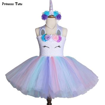 Pastel Flower Girl Unicorn Tutu Dress Princess Kids Girl Birthday Party Dress Tulle Children Girls Halloween Unicorn Costume