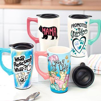 Unique 16 oz Microwavable Double Insulated Travel Mother's Day Gift Mug with Lockable Lid